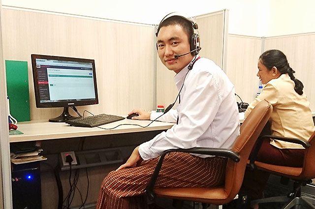 Kyaw Zin Latt has a below-knee amputation due to a car accident, Kyaw Zin Latt works at MAB call centre.