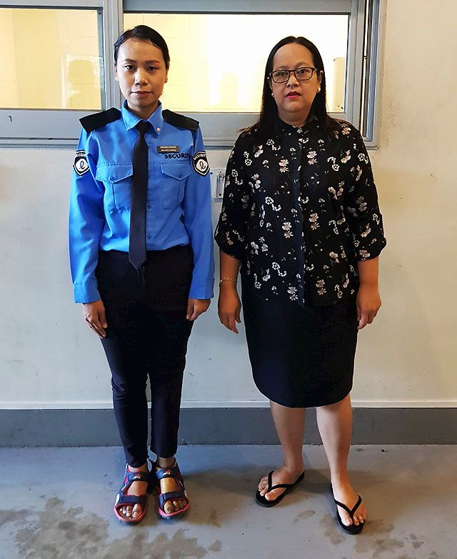 Daw Hla Hla Htun, Director of HR at Lotte Hotel, and Ma May Htoo Khaing, physical disability who is working as a Security Guard in Lotte Hotel