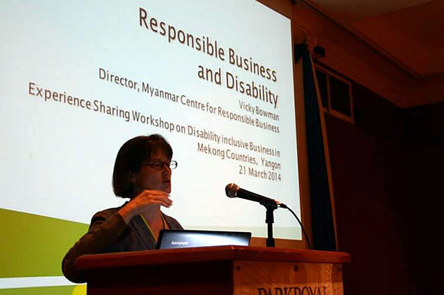 MCRB Director Vicky Bowman's presentation focussed on the responsibilities of mainstream business to respect and promote the rights of people with disabilities.