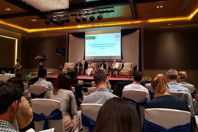 The seminar was intended to provide Myanmar and foreign businesses with practical advice and to facilitate dialogue on how to promote effective industrial relations and workplace dialogue.