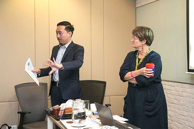 Thompson Chau, Myanmar-based business journalist and Director of the Board of the Myanmar-Hong Kong Chamber of Commerce, and Vicky Bowman, Director of MCRB
