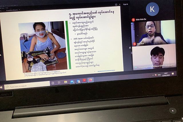 MCRB's Myint Naing Kyaw explains how one group of persons with disabilities is making 'smile masks' for those who need to be lip-read.