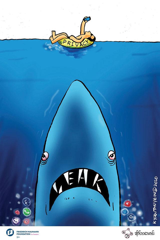 A shark approaches a swimmer taking a selfie